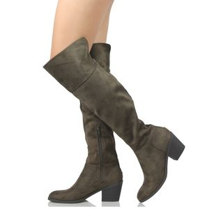 Shoes - Sally Khaki Faux Suede Back Zipper Knee High Boot